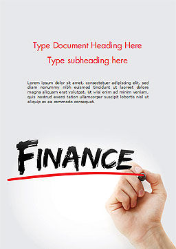 A Hand Writing 'Finance' with Marker Word Template Cover Page