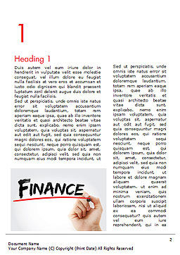 A Hand Writing 'Finance' with Marker Word Template First Inner Page