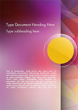 Yellow Circle on Pink Background Word Template, Cover Page, 14611, Abstract/Textures — PoweredTemplate.com