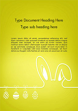 Happy Easter Background with Ears Rabbit and Eggs Word Template Cover Page