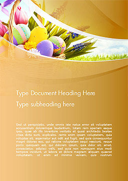 Basket with Easter Eggs Word Template Cover Page