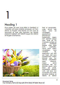 Basket with Easter Eggs Word Template First Inner Page