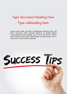 A Hand Writing 'Success Tips' with Marker Word Template Cover Page