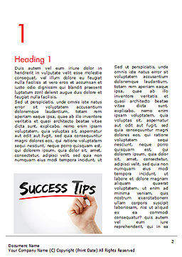 A Hand Writing 'Success Tips' with Marker Word Template First Inner Page