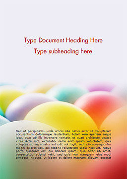 Colorful Easter Eggs Word Template, Cover Page, 14620, Holiday/Special Occasion — PoweredTemplate.com