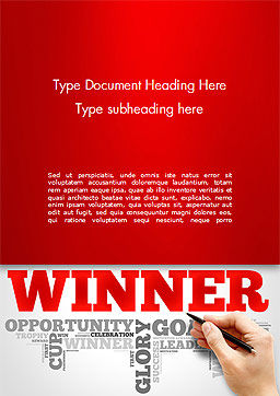 Winner Word Cloud Word Template Cover Page