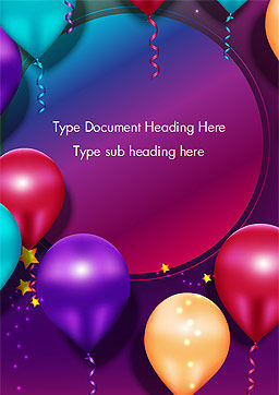 Colorful Balloon Party Word Template, Cover Page, 14635, Holiday/Special Occasion — PoweredTemplate.com