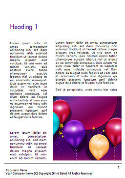 Colorful Balloon Party Word Template, First Inner Page, 14635, Holiday/Special Occasion — PoweredTemplate.com