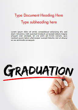 A Hand Writing 'Graduation' with Marker Word Template, Cover Page, 14636, Education & Training — PoweredTemplate.com