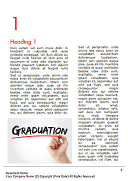 A Hand Writing 'Graduation' with Marker Word Template, First Inner Page, 14636, Education & Training — PoweredTemplate.com