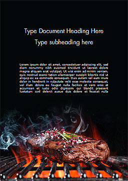 Beef Steak On Grill Word Template, Cover Page, 14638, Food & Beverage — PoweredTemplate.com