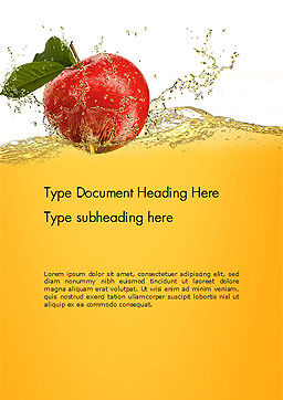 Apple With Juice Splash Word Template, Cover Page, 14644, Food & Beverage — PoweredTemplate.com