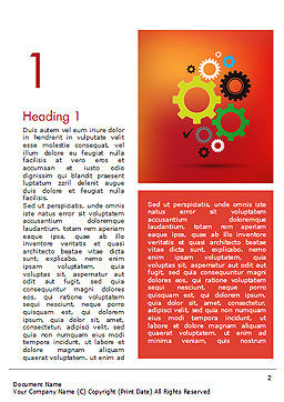 Colorful Gears Word Template, First Inner Page, 14650, Business Concepts — PoweredTemplate.com