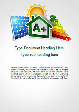 Energy Efficient House Word Template, Cover Page, 14652, Technology, Science & Computers — PoweredTemplate.com
