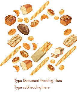 Bread Background Word Template, Cover Page, 14663, Food & Beverage — PoweredTemplate.com