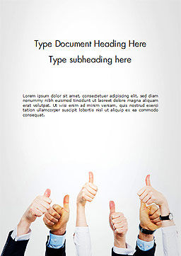 Thumbs Up Word Template, Cover Page, 14666, People — PoweredTemplate.com