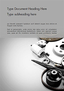 Car Accessories Word Template, Cover Page, 14673, Cars/Transportation — PoweredTemplate.com