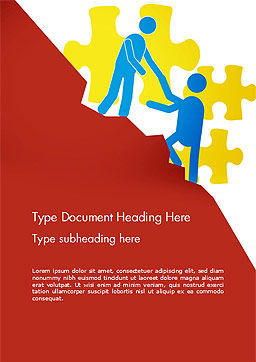 Giving a Helping Hand Word Template, Cover Page, 14674, Business Concepts — PoweredTemplate.com