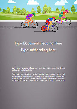 Bicycle Race Illustration Word Template, Cover Page, 14675, Sports — PoweredTemplate.com