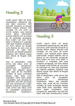 Bicycle Race Illustration Word Template, Second Inner Page, 14675, Sports — PoweredTemplate.com