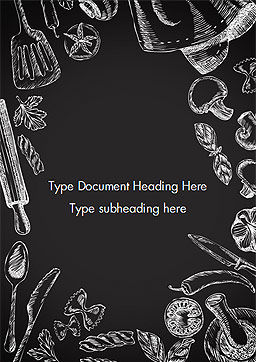 Food Doodles on Chalkboard Word Template, Cover Page, 14676, Food & Beverage — PoweredTemplate.com