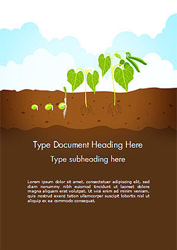 Peas Plant Growth Illustration Word Template, Cover Page, 14680, Agriculture and Animals — PoweredTemplate.com