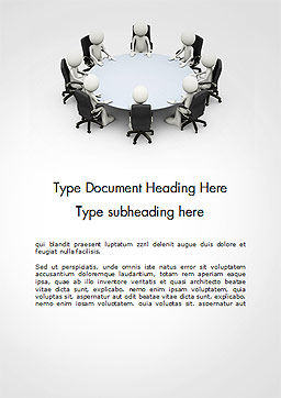 3D Business People Sitting Around a Conference Table Word Template, Cover Page, 14695, 3D — PoweredTemplate.com