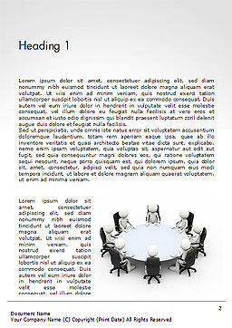 3D Business People Sitting Around a Conference Table Word Template, First Inner Page, 14695, 3D — PoweredTemplate.com