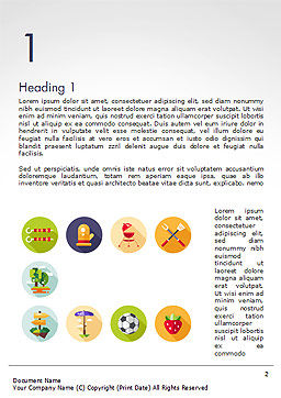 Barbecue and Picnic Icons Word Template, First Inner Page, 14697, Sports — PoweredTemplate.com