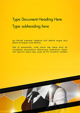Businesswoman Pressing a Button on Virtual Screen Word Template Cover Page