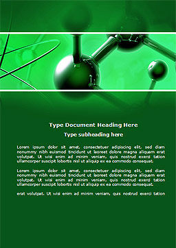 Molecular Lattice In Dark Green Colors Word Template, Cover Page, 14713, 3D — PoweredTemplate.com