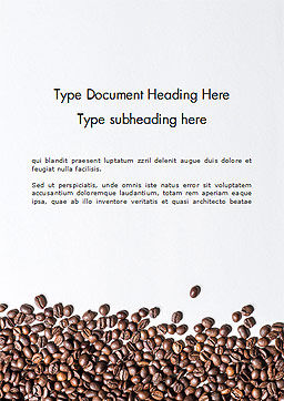 Scattered Coffee Beans Background Word Template, Cover Page, 14718, Food & Beverage — PoweredTemplate.com