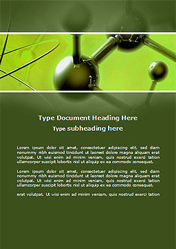 Molecular Lattice In Green Colors Word Template, Cover Page, 14719, 3D — PoweredTemplate.com