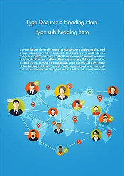 Global Worldwide People Connections Word Template, Cover Page, 14725, Business Concepts — PoweredTemplate.com