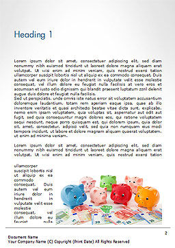 Colorful Piggy Banks Word Template First Inner Page