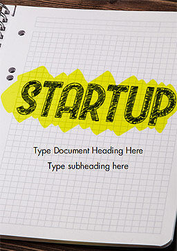 Startup Hand Drawn Label on Paper Word Template, Cover Page, 14729, Business Concepts — PoweredTemplate.com