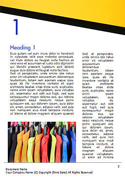 Row of Colorful Shirts in Store Word Template, First Inner Page, 14737, Careers/Industry — PoweredTemplate.com