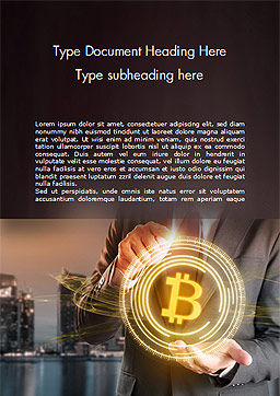 Businessman Control with Bitcoin Technology Word Template, Cover Page, 14738, Technology, Science & Computers — PoweredTemplate.com