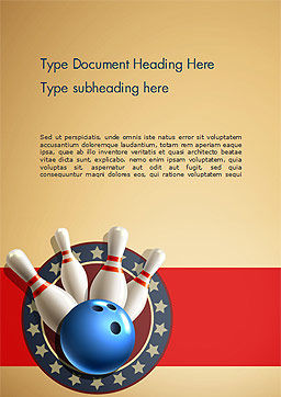 Bowling Illustration Word Template, Cover Page, 14743, 3D — PoweredTemplate.com