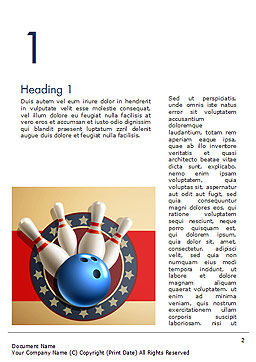 Bowling Illustration Word Template, First Inner Page, 14743, 3D — PoweredTemplate.com