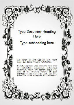 Floral Black and White Border Word Template Cover Page
