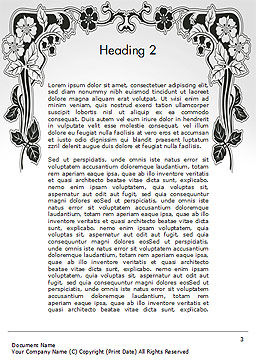 Floral Black and White Border Word Template Second Inner Page