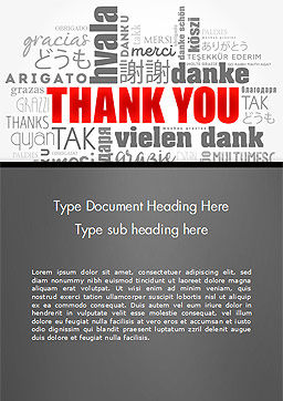 Thank You Word Cloud in Different Languages Word Template Cover Page