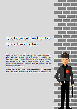 Security Guard Illustration Word Template Cover Page
