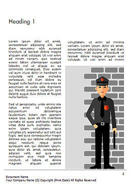 Security Guard Illustration Word Template First Inner Page
