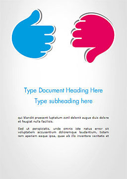 Like and Unlike Hand Word Template, Cover Page, 14762, Business Concepts — PoweredTemplate.com