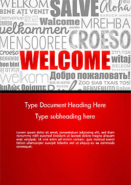 Welcome Word Cloud in Different Languages Word Template Cover Page