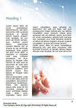 A Hand Touching Global Virtual Network Word Template, First Inner Page, 14779, Technology, Science & Computers — PoweredTemplate.com