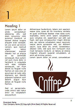 Cup of Coffee Word Template, First Inner Page, 14783, Food & Beverage — PoweredTemplate.com