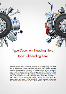 Car Replacement Parts Word Template, Cover Page, 14785, Cars/Transportation — PoweredTemplate.com